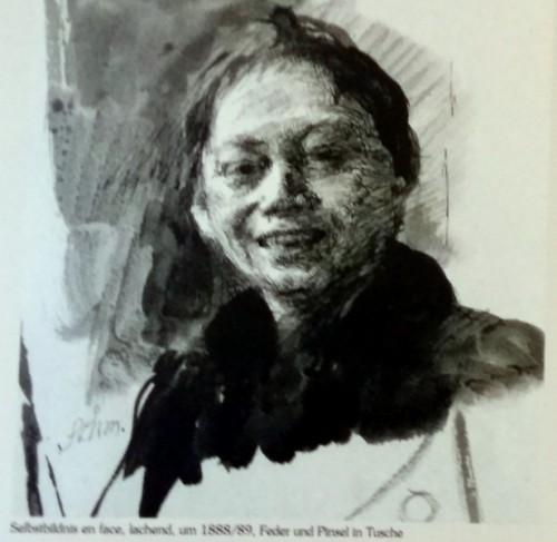 kaethe kollwitz selbstbildnis-lachend-1888-1899-tusche