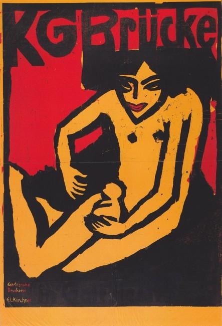 Ausstellungsplakat KG Brücke von Ernst Ludwig Kirchner für die Galerie Arnold (Bildquelle wiki-pd)