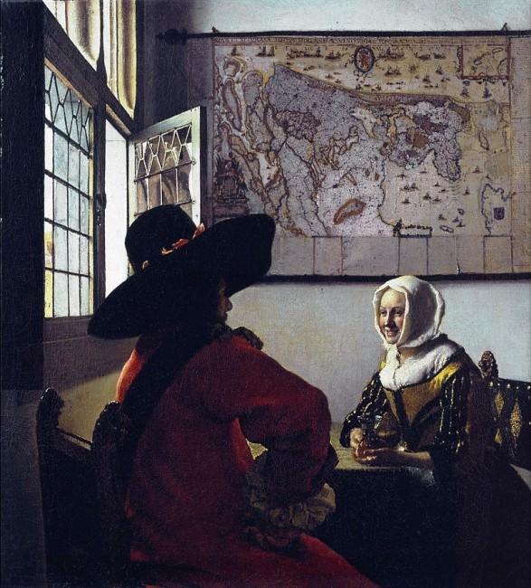 camera obscura Der Soldat und das lachende Mädchen Jan Vermeer, 1658 Öl auf Leinwand 49,2 × 44,4 cm