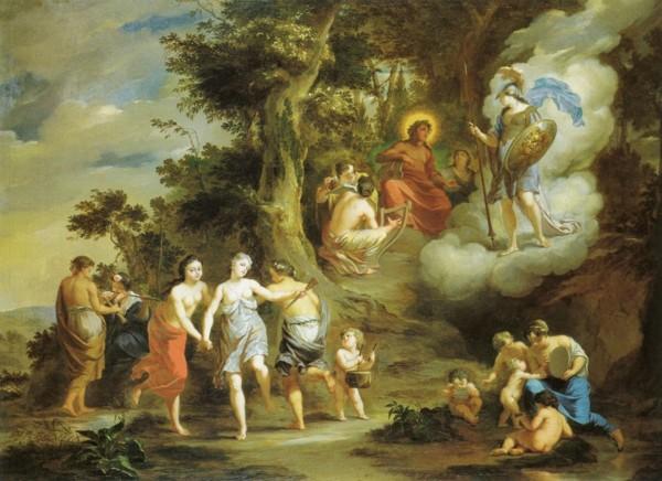 Arnold-Houbraken-Pallas-besucht-Apollo-auf-dem-Parnassus